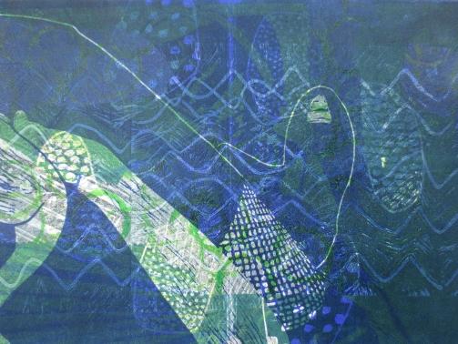 Diabellivariationen 20, Holz Linolschnitt, 42 x 29 cm, Iris Flexer 2016