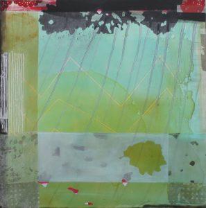 Frühling (conBrio), 100 x 100 cm, Malerei Collage auf Leinwand, Iris Flexer 2018