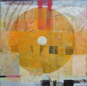 Herbst (Scherzando), 100 x 100 cm, Malerei Collage auf Leinwand, Iris Flexer 2018