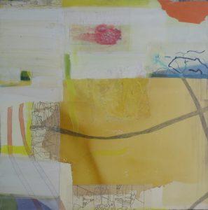 Mittsommer, 100 x 100 cm, Malerei Collage auf Leinwand, Iris Flexer 2018