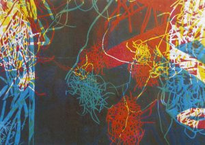 Serie Sterntaler 3, Holzschnitt, 21 x 29 cm, Iris Flexer 2018
