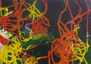 Serie Sterntaler 4, Holzschnitt 21 x 29 cm, Iris Flexer 2018
