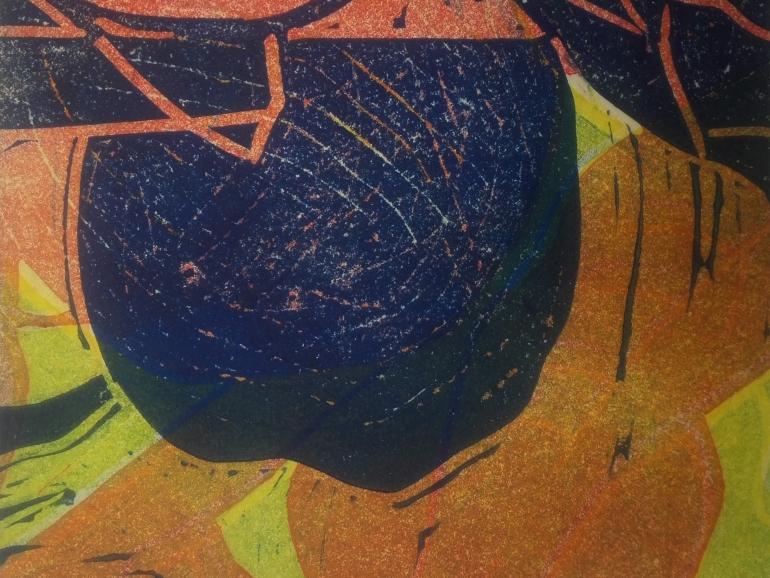 Abschied, 2020, Farblinolschnitt, 12 x 12 cm, Iris Flexer