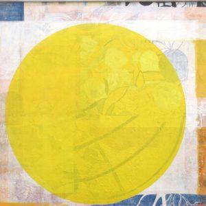 Fruehlingssonne, 2020, 80 x 90cm, Malerei-Collage auf Leinwand, Iris Flexer, 1.200 Euro