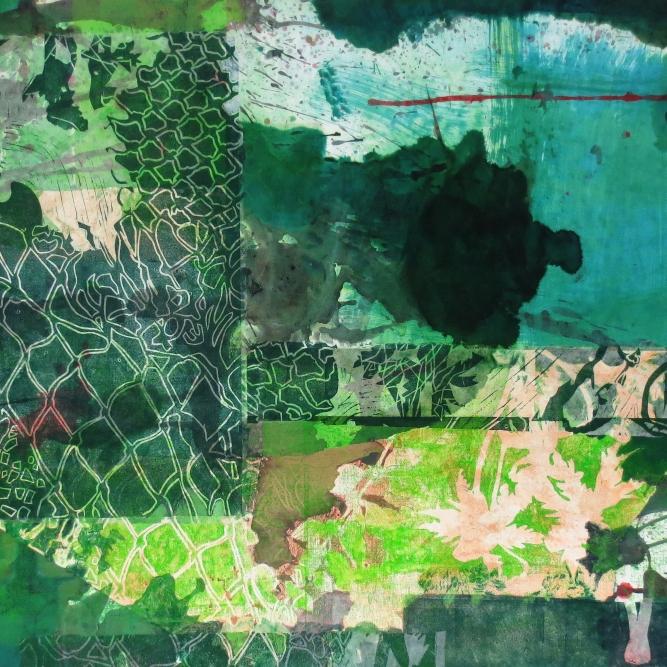 Acedia, 70 x 100 cm, Malerei Linolschnitt Collage auf Leinwand, Iris Flexer 2019