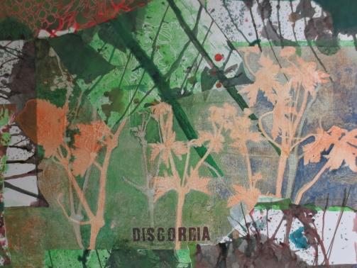 Discordia, 70 x 100 cm, Malerei Linolschnitt Collage auf Leinwand, Iris Flexer 2019