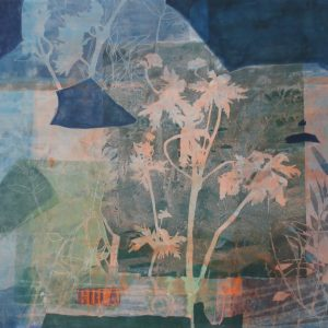 Gula, 2019, 70x100cm, Malerei/Linolschnitt/Collage auf Leinwand, Iris Flexer