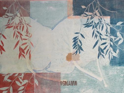 Ignavia, 2019, 70 x 100cm, Malerei/LInolschnitt/Collage auf Leinwand, Iris Flexer