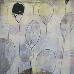 Loslassen 1, 2020, 50 x 50cm, Malerei-Linolschnitt-Collage auf Leinwand, Iris Flexer