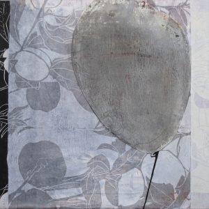 Loslassen 2, 2020, 50 x 50cm, Malerei-Linolschnitt-Collage auf Leinwand, Iris Flexer