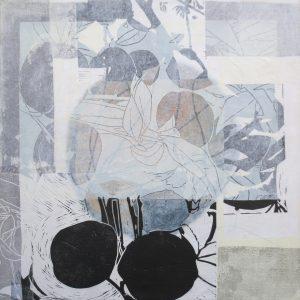 Loslassen 4, 2020, 50 x 50cm, Malerei-Linolschnitt-Collage auf Leinwand, Iris Flexer