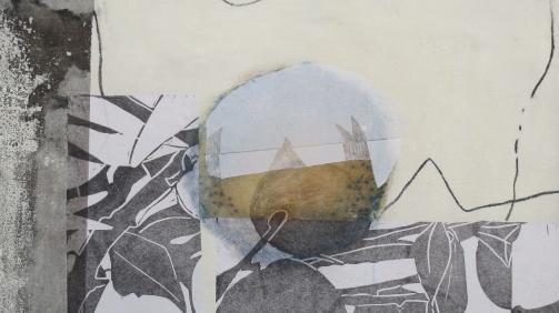 Loslassen 5, 2020, 50 x 50cm, Malerei-Linolschnitt-Collage auf Leinwand, Iris Flexer