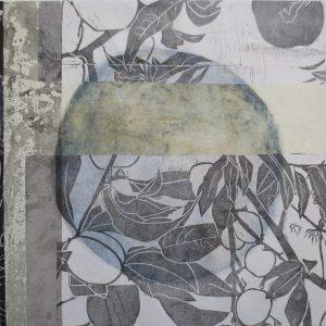 Loslassen 6, 2020, 50 x 50cm, Malerei-Linolschnitt-Collage auf Leinwand, Iris Flexer