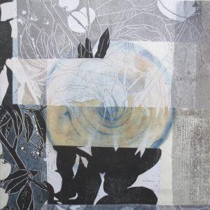 Loslassen 7, 2020, 50 x 50cm, Malerei-Linolschnitt-Collage auf Leinwand, Iris Flexer