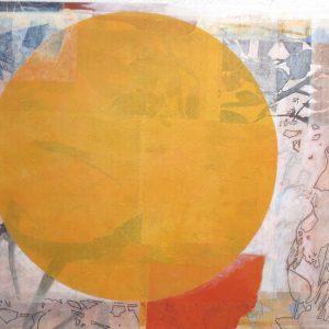 Pfirsichmond, 2020, 80 x 90cm, Malerei-Collage auf Leinwand, Iris Flexer, 1.200 Euro.