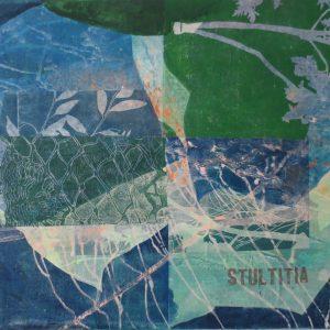 Stultitia, 2019, 70 x 100cm, Malerei/Linolschnitt/Collage auf Leinwand, Iris Flexer