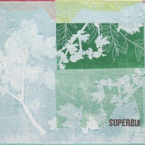 Superbia, 2019, 70x100cm, Malerei/Linolschnitt/Collage auf Leinwand, Iris Flexer