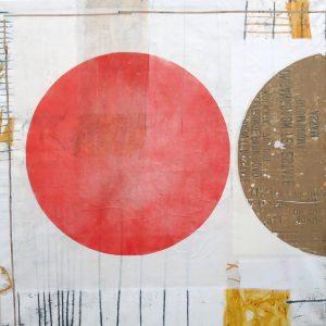 Freundschaft, 2020, 120 x110cm, Malerei-Monotypie-Collage auf Leinwand, Iris Flexer, 2.200 Euro.
