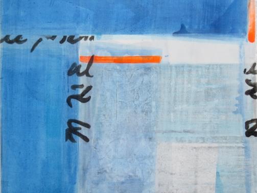 Hommage an Hoelderlin, 2021, Tusche, Acryl, Collage auf Leinwand, 87 x 87 cm, Iris Flexer